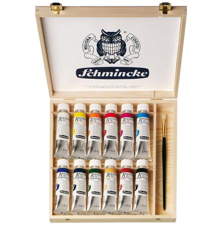 Schmincke Akademie olja 12x60ml i trälåda