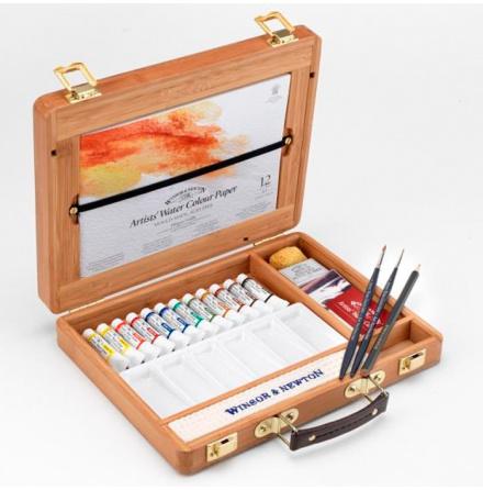 Akvarellset Winsor & Newton bamboo box 12x5ml