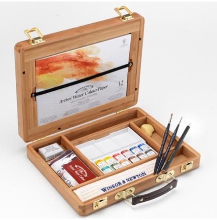 Akvarellset Winsor & Newton bamboo box halvkoppar